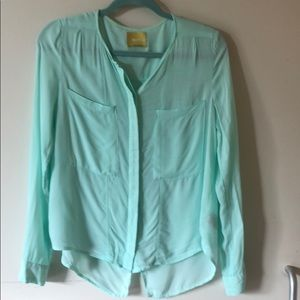 Maeve mint sheer long sleeve blouse